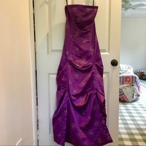 Purple with gold strapless prom dress